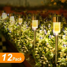 12Pack Outdoor Garden Lights, LED Solar Powered Pathway Lights, Stainless Steel Landscape Lighting for Lawn/Patio/Walkway/Driveway (Warm White) - intl