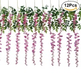 Low Cost 12Pcs Artificial Silk Wisteria Ivy Vine Green Leaf Vine Garland Simulation Props For Party Wedding Home Decoration Pink Intl