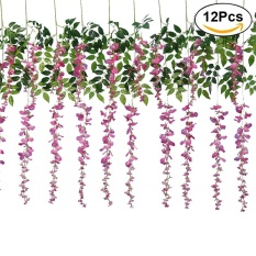 12PCS Artificial Silk Wisteria Ivy Vine Green Leaf Vine Garland Simulation Props for Party Wedding Home Decoration (Pink) - intl