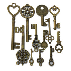 12Pcs Assorted Mixed Antique Vintage Look Skeleton Key Lot Crown Bow Charm Pack NEW - intl