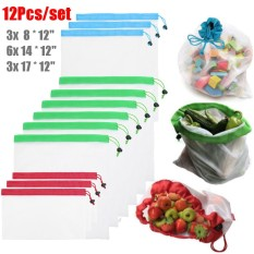 Discounted 12Pcs Reusable Produce Mesh Bags For Grocery Shopping Fruit Toys Storage S M L Intl