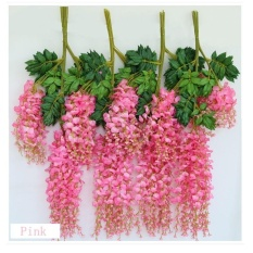 12pcs Wedding Decor Artificial Silk Fake Wisteria Garden Hanging Flower Plant Vines - intl