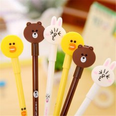 Discount 12Pcs Lot Kawaii Cony Rabbit Brown Bear Black Gel Ink Pen Cartoon Animal 38Mm Signature Pen Stationery Sch**l Office Supplies Intl Oem On China