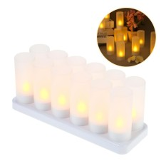 Buy 12Pcs Set Rechargeable Led Flickering Flameless Candles Tealight Candles Lights With Frosted Cups Charging Base Yellow Light Ac100 240V Intl Cheap China