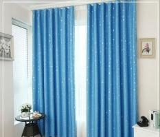 130*150cm Heat Insulation Shading Partition Curtain Star Pattern + 5 Hooks (Sky Blue) - intl