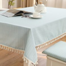 Coupon Mimosifolia 140X140Cm Simple Stripe Tassel Tablecloth Tv Cabinet Table Cloth Rural Coffee Table Cloth Round Tablecloths Square Table Nordic Cotton Computer Table Decorative Tablecloths Intl