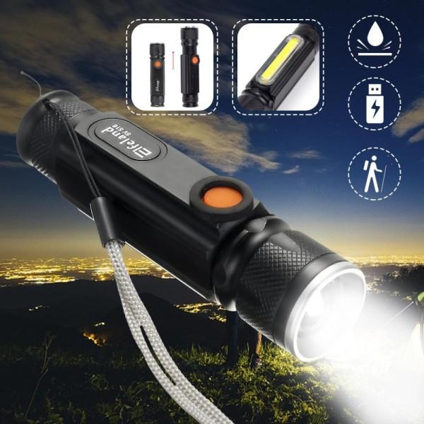 15000Lm Elfeland USB Rechargeable T6 + COB LED 3 Modes Tactical Flashlight Torch - intl