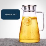 1500Ml Large Capacity Glass Pitcher High Temperature Heat Proof Cold Cool Water Bottle With Stainless Steel Filter Lid Borosilicate Glass Lead Free On China