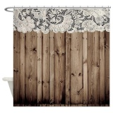How To Buy 150X180Cm Barnwood White Lace Country Bathroom Shower Curtain Waterproof Intl