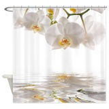 Top Rated 152X182Cm Beatiful White Orchids Water Reflection Bath Shower Curtain Waterproof Intl