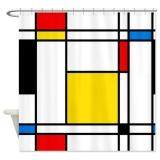 Price Comparisons For 165X180Cm Mondrian Lines Soft Fabric Bathroom Shower Curtain Waterproof Intl