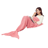 Sale 180 90Cm Large Size Mermaid Blanket Handmade Crochet Sea Maid Tail Blanket Throw Pink Intl Oem