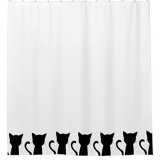 Latest 180X180Cm Cute Lovely Black Cat Bath Shower Curtain Waterproof Home Decoration Intl