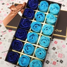 18Pcs Rose Flower Soap Flower Box Romantic Confession Soap Flower Gift bag Package Present for lover girl friend Blue gradually change - intl