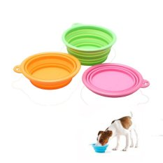 1pc Dogs Portable Foldable Camping Water Food Bowl (multicolor) By Welcomehome.