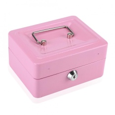 Best Price 1Pc Mini Portable Steel Petty Lockable Cash Money Coin Safe Security Box Household Pink Intl