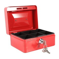 1Pc Mini Portable Steel Petty Lockable Cash Money Coin Safe Security Box Household (Red) - intl