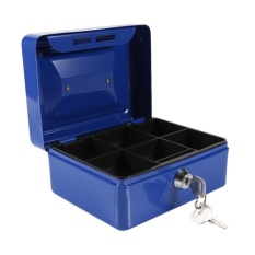 1Pc Mini Portable Steel Petty Lockable Cash Money Coins Safe Security Box (Blue) - intl