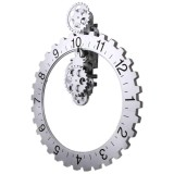 1Pcs Retro Modern Large Wall Art Gear Clock Antique Vintage Black 1Pcs Brand New Intl In Stock