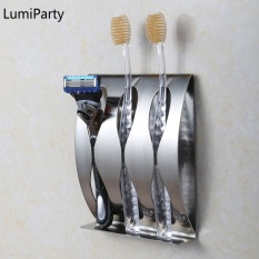 1pcs Stainless Steel Bathroom Toothbrush Holder Bathroom Accessories 3 Holes Razor Holder With Self Adhesive Banheiro - Intl By Lumiparty.
