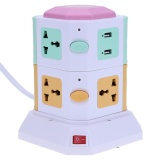 Get Cheap 2 Layer Smart Electrical Plugs Vertical Power Socket Outlet 2 Usb Ports Multicolor Eu Plug Intl