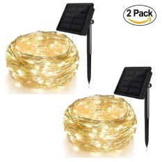2 Pack New Solar String Lights (72 ft Waterproof 8 Modes) Bendable Copper Wire High Efficiency 200 LED Durable Fairy Outdoor String Lights for Garden Patio Wedding and Christmas Party (Warm White) - intl