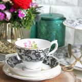 Review 2 Pc Black Lace Teacup Saucer Set Truffula Forest On Singapore