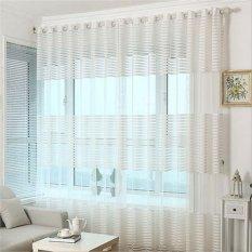 2 Pcs 200*270cm Striped Window Curtain See Through Sheer Voile Drape - White - intl