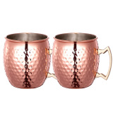 Cheapest 2 Pcs 530Ml Stainless Steel Copper Plating Hammered Drum Style Moscow Mule Beverage Mug Cups With Handle Online