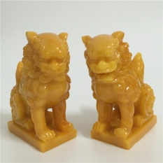2 Pcs Chinese Feng Shui Lucky Lion Statues Man-made Jade Stone Craft Home Decor Gifts - intl