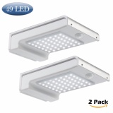 Best Rated 2 Pcs Solar Lights 49 Led Outdoor Security Lighting Sensor Wall Pack Lamp Waterproof Aluminium Garden Gutter Light 2 Pack Intl