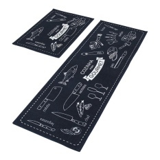 2 Piece Non-Slip Kitchen Mats Rubber Backing Doormat Runner Rug Set ( 15x 47+15x 23) - intl