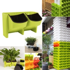 Review 2 Pocket Stackable Home Garden Wall Hanging Vertical Flower Pot Succulents Planter Green Intl On China
