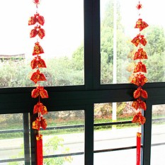 Vococal 2 Strings of Chinese New Year Red Hanging Lucky Bag Pocket Ornament String Chinese Spring Festival Wedding Restauran Decoration - intl