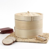 Price Compare 2 Tier 8Inch Bamboo Steamer Chinese Dim Sum Basket Rice Pasta Cooker Set With Lid Intl