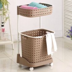 Low Cost 2 Tier Moving Laundry Organizer Rack Brown