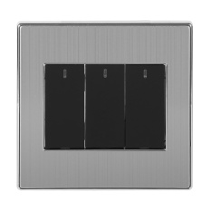 2 Way 250V 10A LED Indicator Wall Light Lamp Control Switch Panel Push Buttons (3 Gang) - intl Singapore