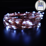 20M 66Ft Copper Wire Warm White Led String Lights Starry Lights Fairy Lights For Xmas Decorative 12V Power Adapter Remote Control White In Stock