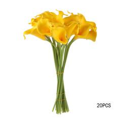 20pcs Calla Bridal Wedding Bouquet  Latex Real Feeling Flower Yellow