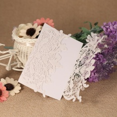 20pcs/set Wedding Invitation Card Set Pearl Paper Laser Cut Hollow Floral Pattern Invitation Cards - Intl By Tomtop.