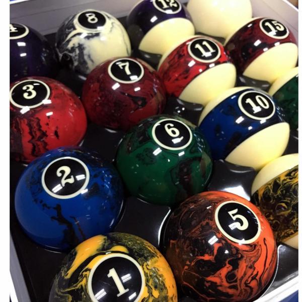 2.25 Standard Marble Swirl Billiard Pool Ball Set