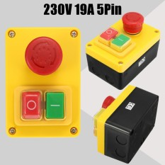 230v 19a 5 Pin Nvr Switch Emergency Stop Push Button On/off For Lathe Mill Drill - Intl By Audew.