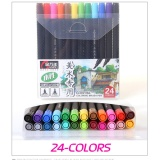 24 Colors Set Water Based Ink Twin Tip Sketch Marker Pen Brushand Fine Tip For Art And Graphic Drawing Manga Intl Price Comparison