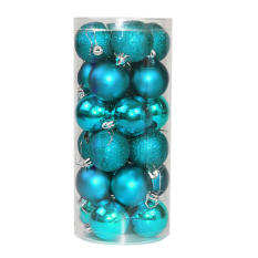 24x Round Christmas Balls Baubles Xmas Tree Decorations(sapphire Blue) By Sportschannel.