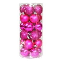 24x Round Christmas Balls Baubles Xmas Tree Decorations Rose Red By Sportschannel.