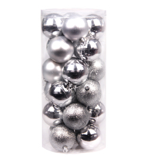 24x Round Christmas Balls Baubles Xmas Tree Decorations Silver By Sportschannel.