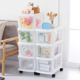 Wholesale 26Cm Plastic Transparent Multi Layer With Wheel Finishing Cabinet Drawer Cabinet