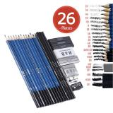 26Pcs Professional Drawing Sketch Pencil Kit Set Including Sketch Pencils Graphite Charcoal Pencils Sticks Erasers Sharpeners For Art Supplies Students Intl Coupon Code