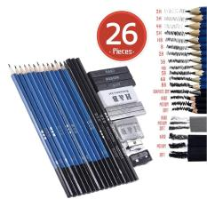 The Cheapest 26Pcs Professional Drawing Sketch Pencil Kit Set Including Sketch Pencils Graphite Charcoal Pencils Sticks Erasers Sharpeners For Art Supplies Students Intl Online