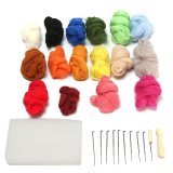 Cheapest 26Pcs Set 180G 16 Colors Wool Felt Tool Set Needle Felting Mat Starter Diy Kit